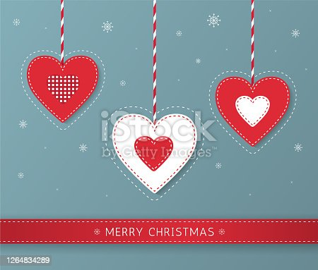 istock Merry Christmas cute greeting card design with red and white stitched decorative hearts and snowflakes. Christmas scandinavian toys. - Vector 1264834289
