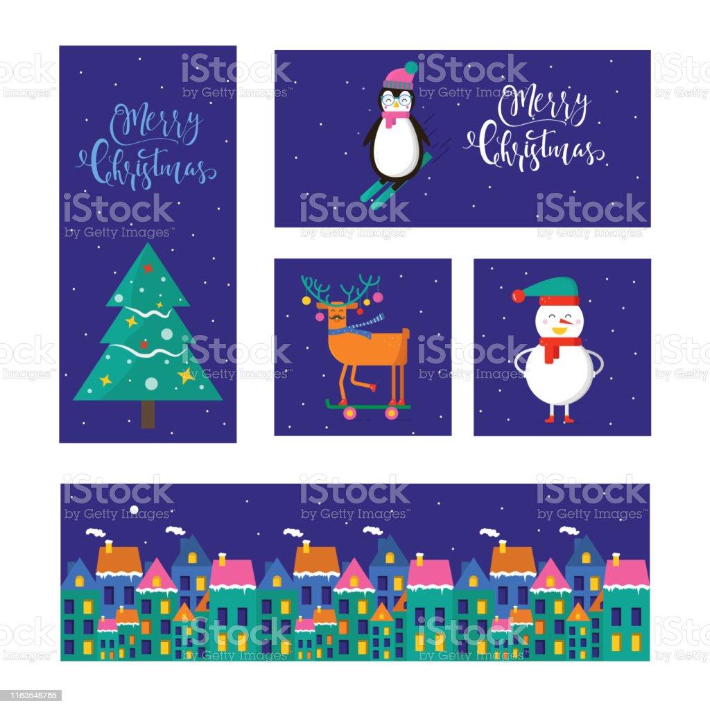 Ilustración De Feliz Navidad Linda Tarjeta De Felicitación