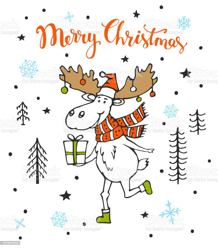 Frohe Weihnachten Süße Grußkarte Mit Lustiger Elch Hirsch Läuft Mit ...