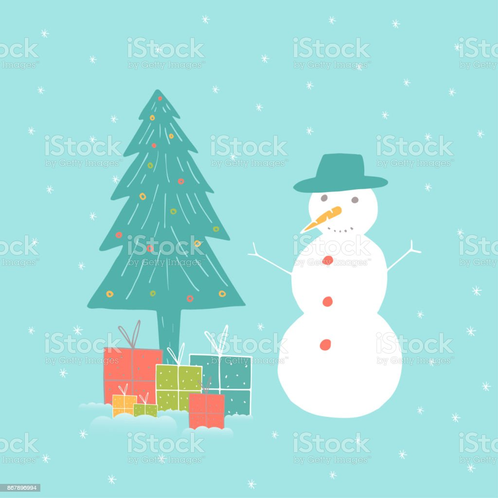 Merry Christmas Cute Greeting Card With Snowman For Presents