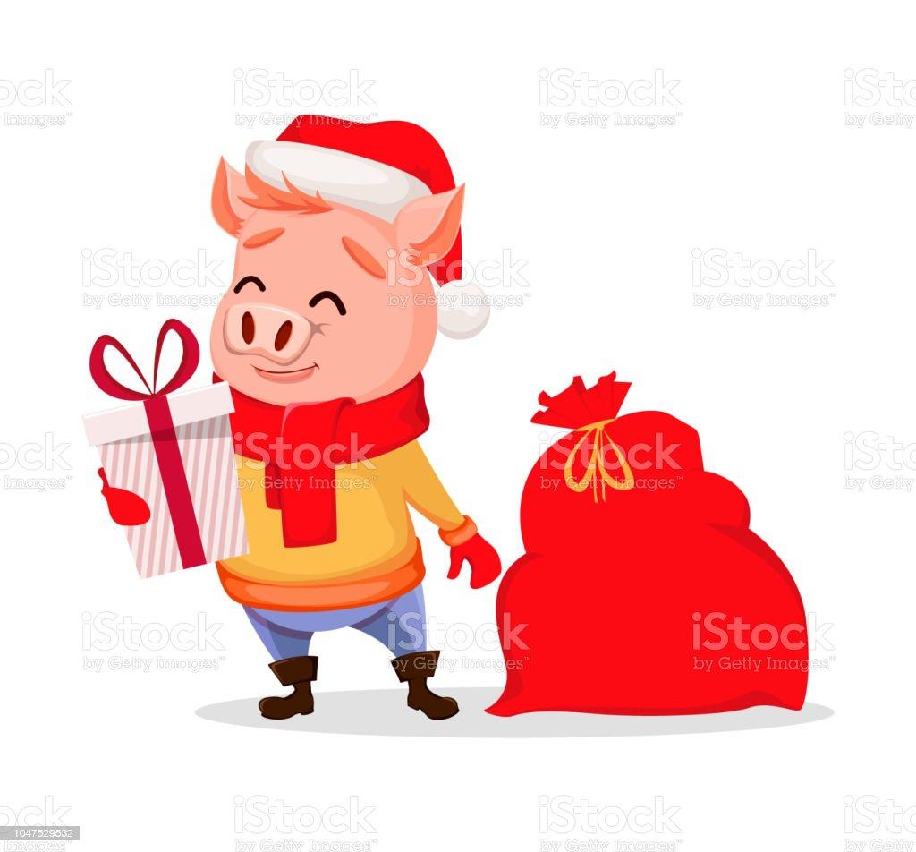 merry christmas cute pig wearing santa claus hat royalty free merry christmas cute pig - Merry Christmas Cute