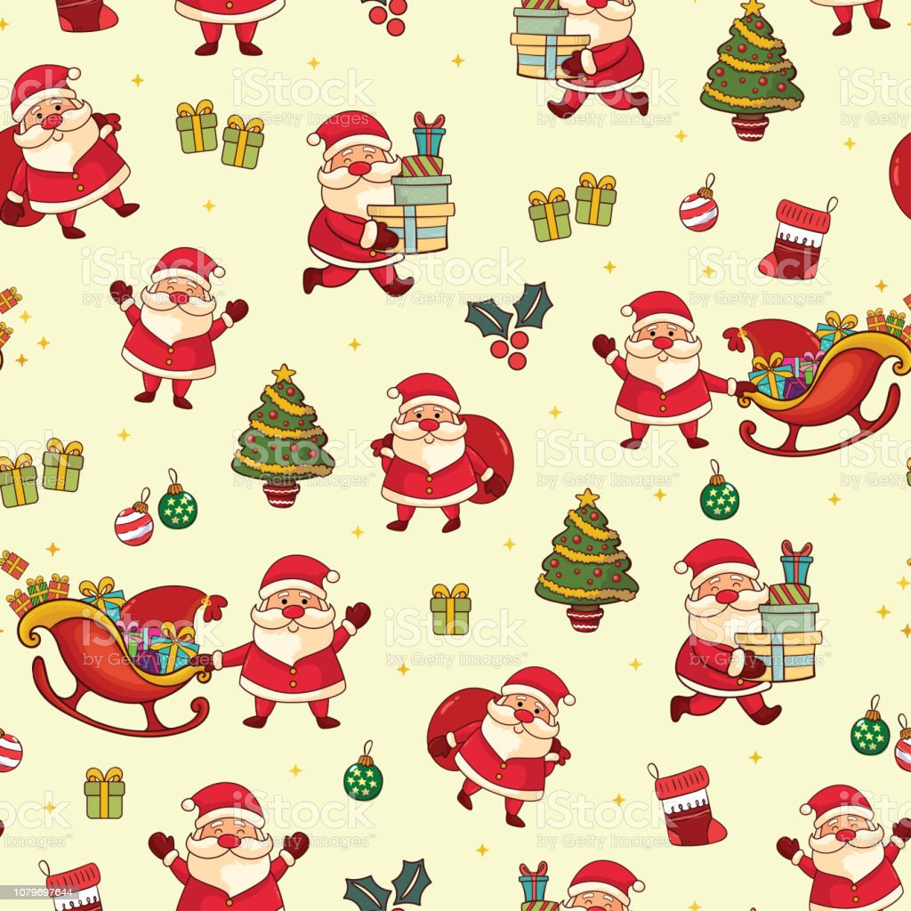 Merry Christmas Cute Santa Claus Seamless Pattern Stock Illustration Download Image Now