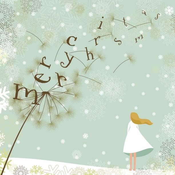 Merry christmas dandelion vector art illustration