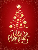 Merry Christmas greeting card or banner template with Handwritten lettering on a red background. Decorative Christmas tree with realistic golden glass balls, stars and sequins. Vector illustration