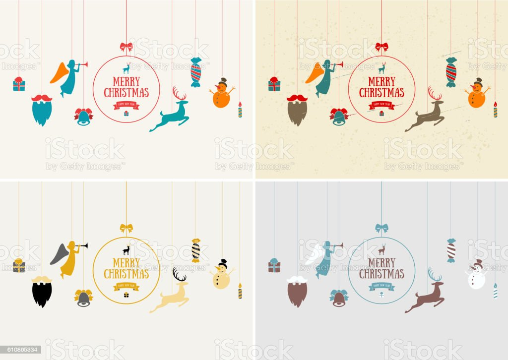 Merry Christmas Decoration And Card Design Happy New Year ...