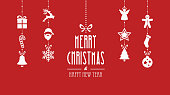 merry christmas decoration elements hanging red background