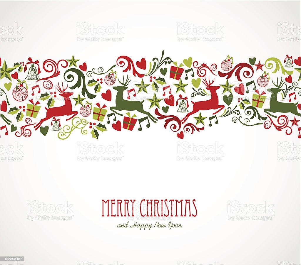 Merry Christmas decorations elements border. vector art illustration