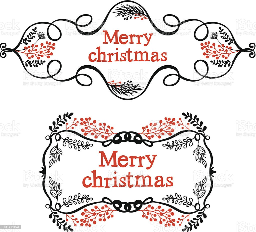 Merry christmas decorative design elements royalty-free stock vector art
