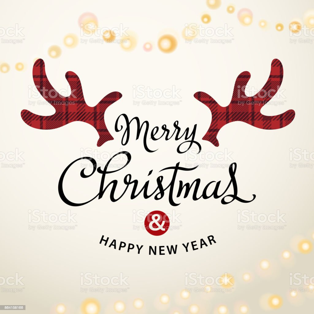 Merry Christmas Deer Antlers vector art illustration
