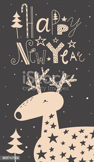 Merry Christmas Deer Card Stock Vektor Art Und Mehr Bilder Von 2017