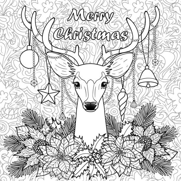 Merry Christmas Deer on Doodle Seamless Background Merry Christmas deer with objects composition on doodle seamless pattern. Winter square new year black and white wallpaper for greeting cards, mock ups, coloring page and covers. coloring book pages templates stock illustrations