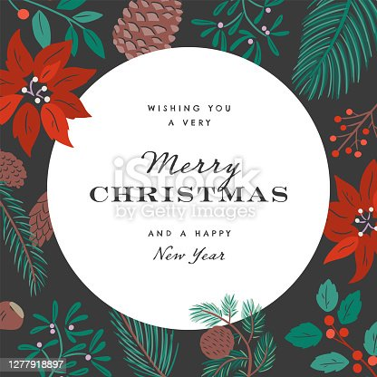 istock Merry Christmas design template with hand-drawn vector winter botanical graphics 1277918897