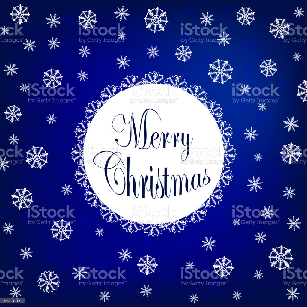 Merry Christmas design with beautiful various snowflakes. Vector logo, typography in blue. Usable as banner, greeting card, gift package. Stock vector. Flat design. royalty-free merry christmas design with beautiful various snowflakes vector logo typography in blue usable as banner greeting card gift package stock vector flat design stock vector art & more images of abstract