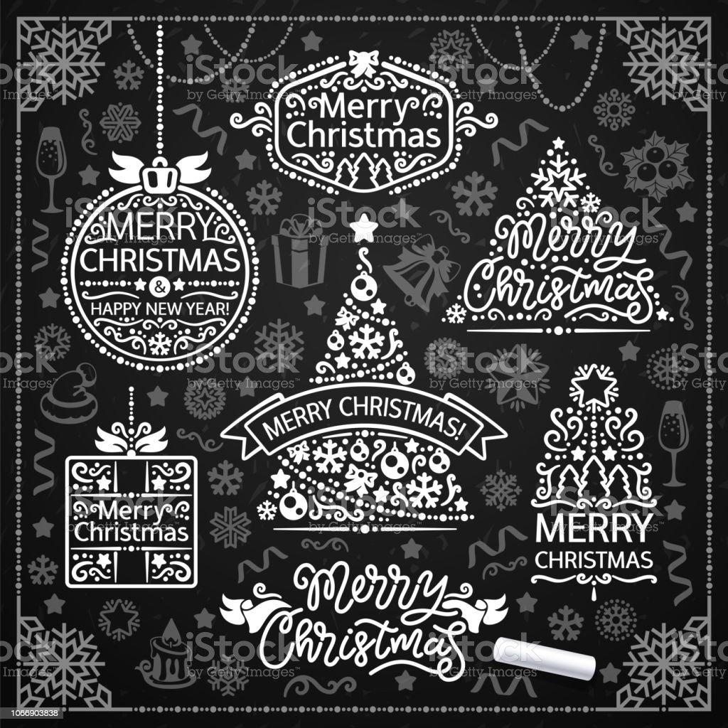 Merry Christmas Design With Chalk Word Art On Blackboard