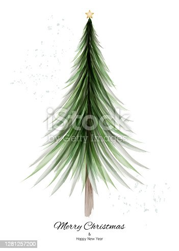 istock Merry Christmas design with green tree watercolor on white background 1281257200