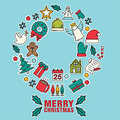 """""""Merry Christmas"""" Design with Line Icons. Greeting card style."""