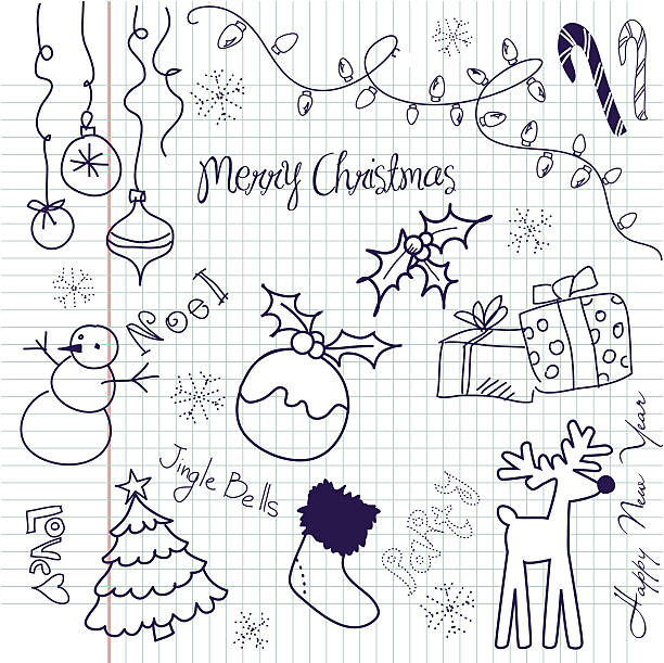 Merry Christmas designs on squared paper vector art illustration