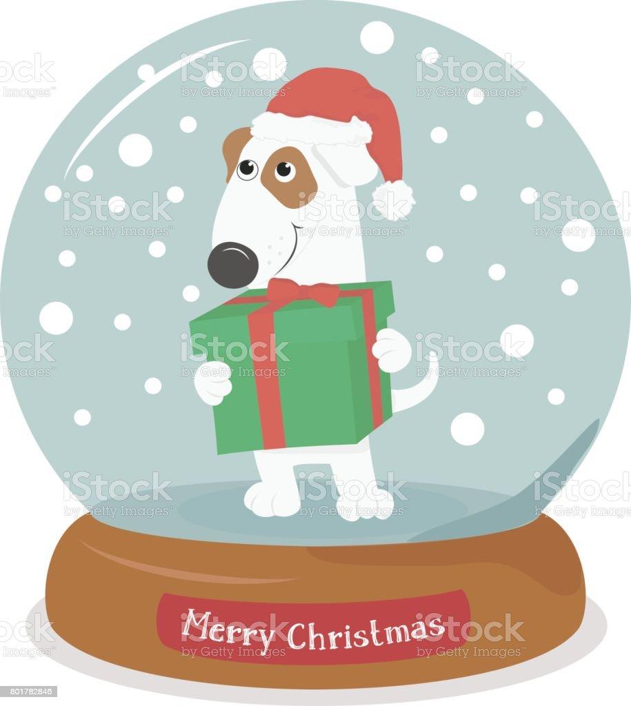 Frohe Weihnachten Hund Mit Geschenk Schneekugel Mit Schneeflocken ...