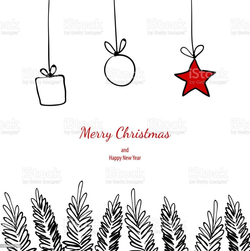 Frohe Weihnachten Rahmen.Frohe Weihnachten Doodle Karte Einfache Rahmen Geschenk