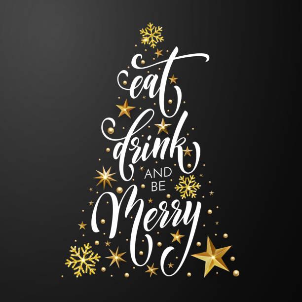 Frohe Weihnachten Essen trinken Poster Grußkarten-Vektor goldene Dekoration Neujahr Hintergrund – Vektorgrafik