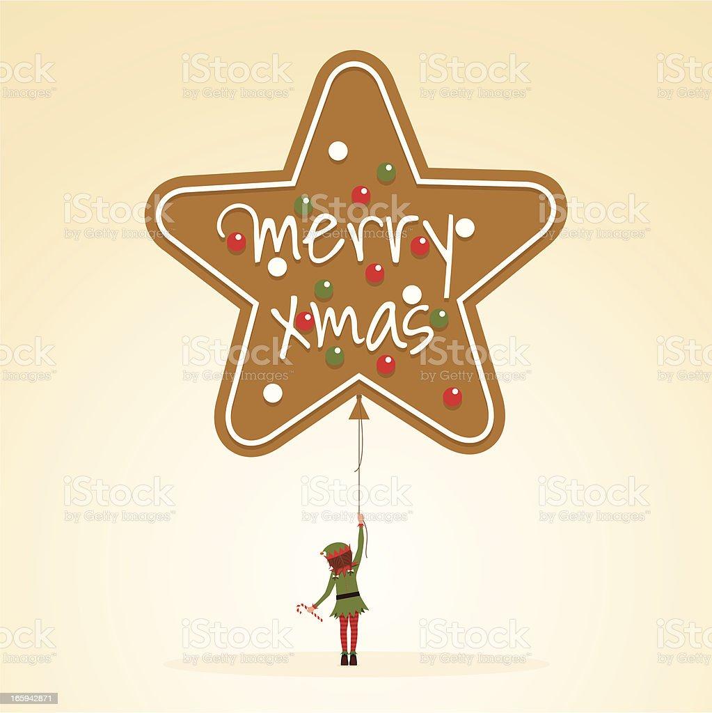 Merry christmas elf girl gingerbread cookie balloon illustration vector minimil vector art illustration
