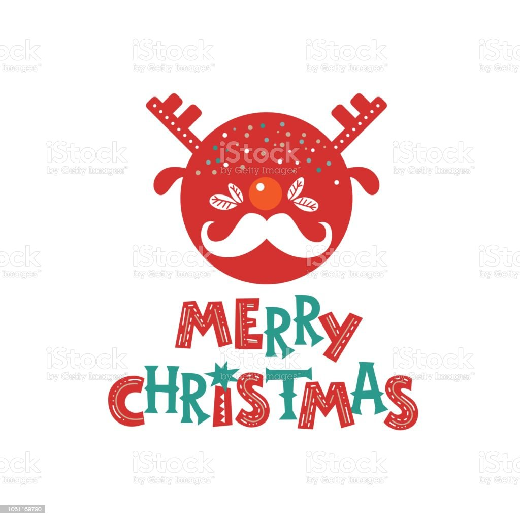 Merry Christmas Emblem Sign With Deer Head And Santas Mustache Royalty Free