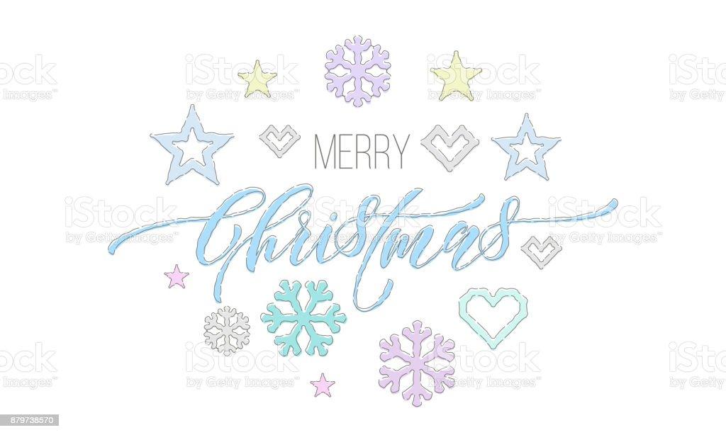 Ilustración de Feliz Navidad Bordado Fuente Y Decoraciones Para El ...