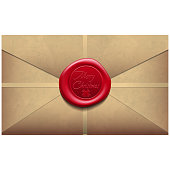 Merry Christmas Envelope with wax seal. Sealing wax. Vector Illustration