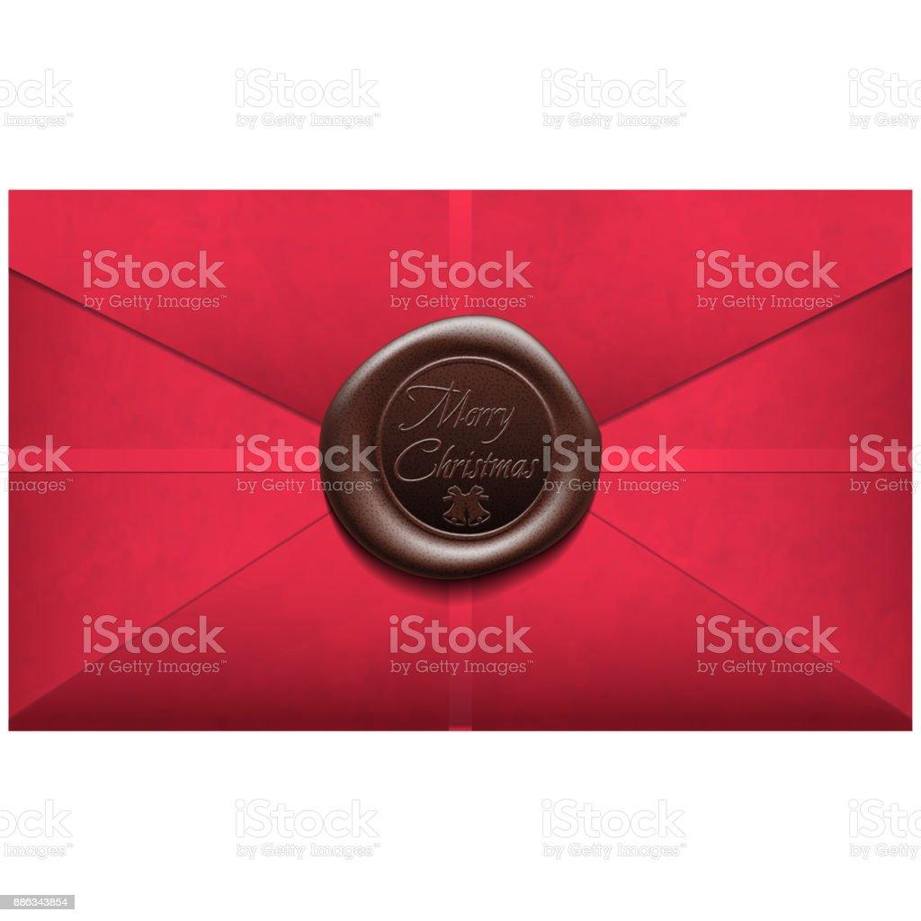 Merry Christmas Envelope with wax seal. Sealing wax. Vector Illustration vector art illustration