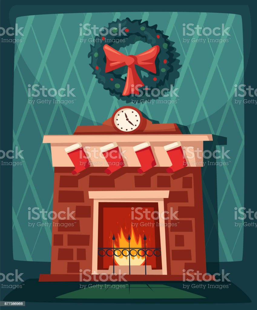Merry Christmas Fireplace And Tree With Decorations Cartoon