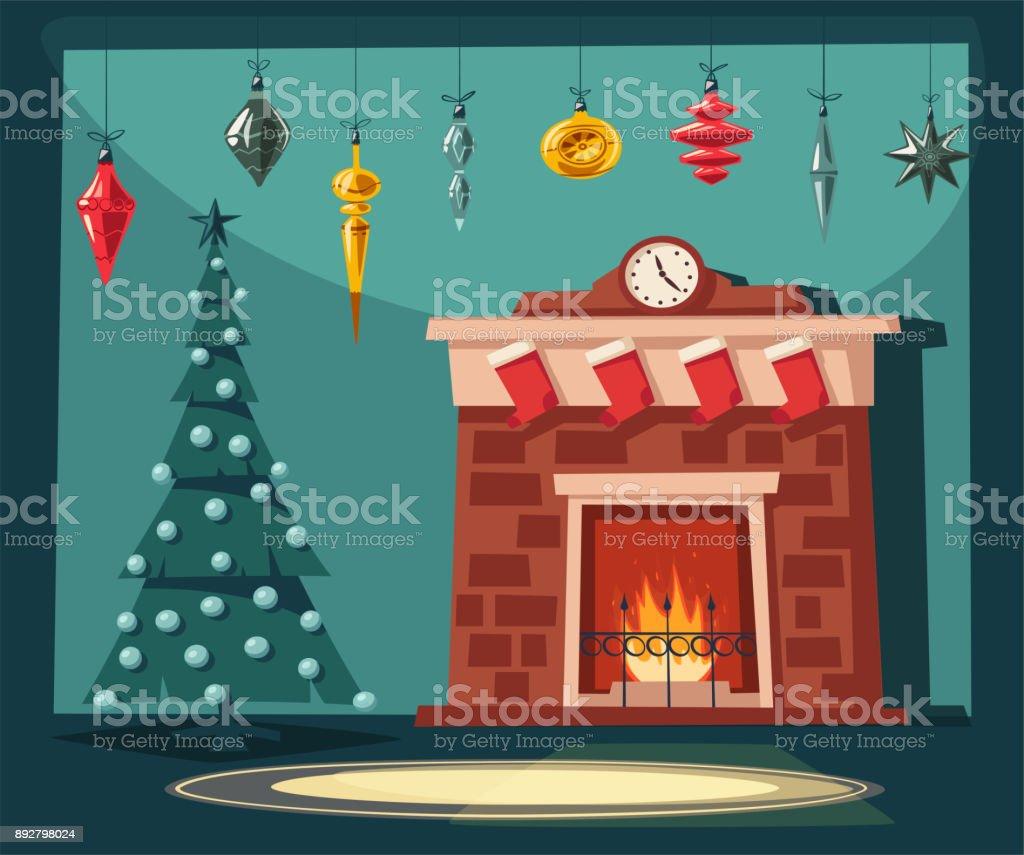 Dibujos Chimeneas De Navidad.Ilustracion De Feliz Navidad Chimenea Y Arbol Con Adornos