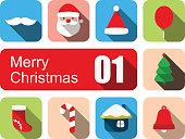 Merry Christmas flat icon set