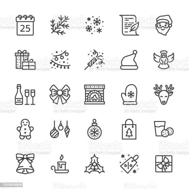 Merry christmas flat line icons fir branch snowflakes presents letter vector id1043849908?b=1&k=6&m=1043849908&s=612x612&h= zrkgow35t mrpydkxjkitqenehspnexsrx3e2gp0yw=