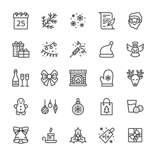 Merry Christmas flat line icons. Fir branch, snowflakes, presents, letter to santa claus, lights garlands decoration vector illustrations. Thin signs xmas sale. Pixel perfect 48x48. Editable Strokes Merry Christmas flat line icons. Fir branch, snowflakes, presents, letter to santa claus, lights garlands decoration vector illustrations. Thin signs xmas sale. Pixel perfect 48x48. Editable Strokes. christmas icons stock illustrations