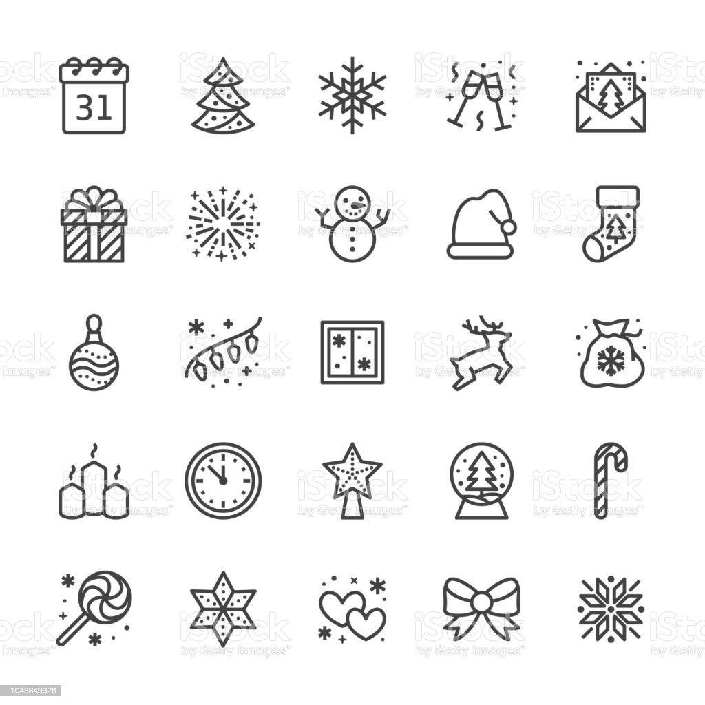 Icônes De Ligne Plate Joyeux Noël Pin Flocon De Neige Sac De Cadeaux