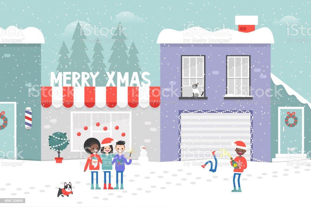 Frohe Weihnachten Flache Vektorillustration Menschen Und Ihre ...