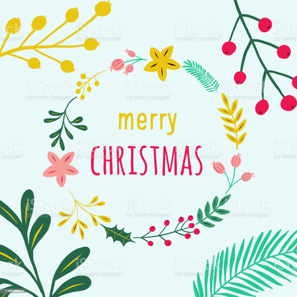 Frohe Weihnachten Rahmen.Frohe Weihnachten Blumenrahmen Mit Zarten Blattern Und Beeren Auf Blauem Hintergrund Geometrische Botanische Vektordesignrahmen Weihnachten