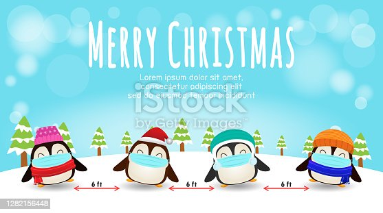 istock Merry Christmas for new normal lifestyle concept and social distancing, cute of penguin with surgical mask protect coronavirus covid-19 in snow scene winter banner, Xmas holiday party concept vector 1282156448