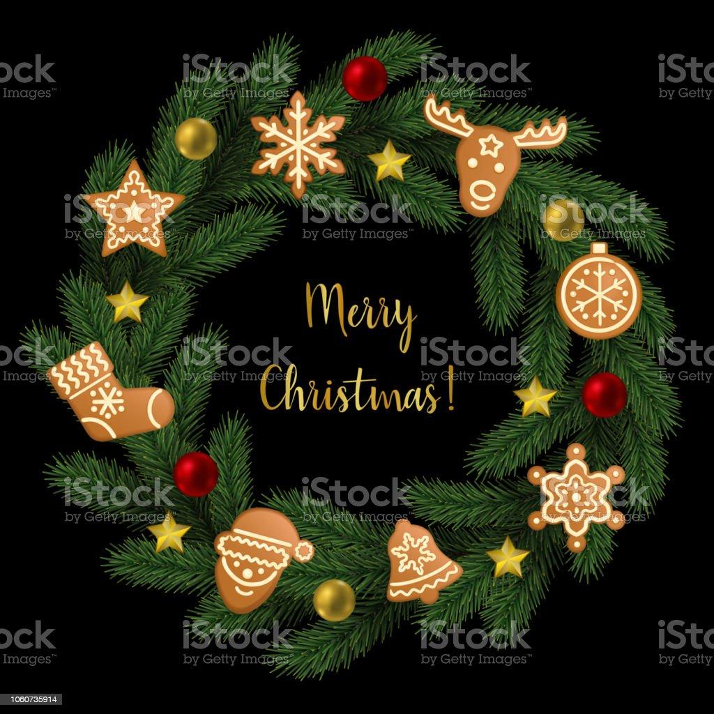 Frohe Weihnachten In Bildern.Frohe Weihnachten Bild Aus Tanne Stock Vektor Art Und Mehr Bilder