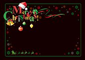 Merry Christmas congratulation with text decorated with Santa's hat, cardinal bird and other holyday elements.