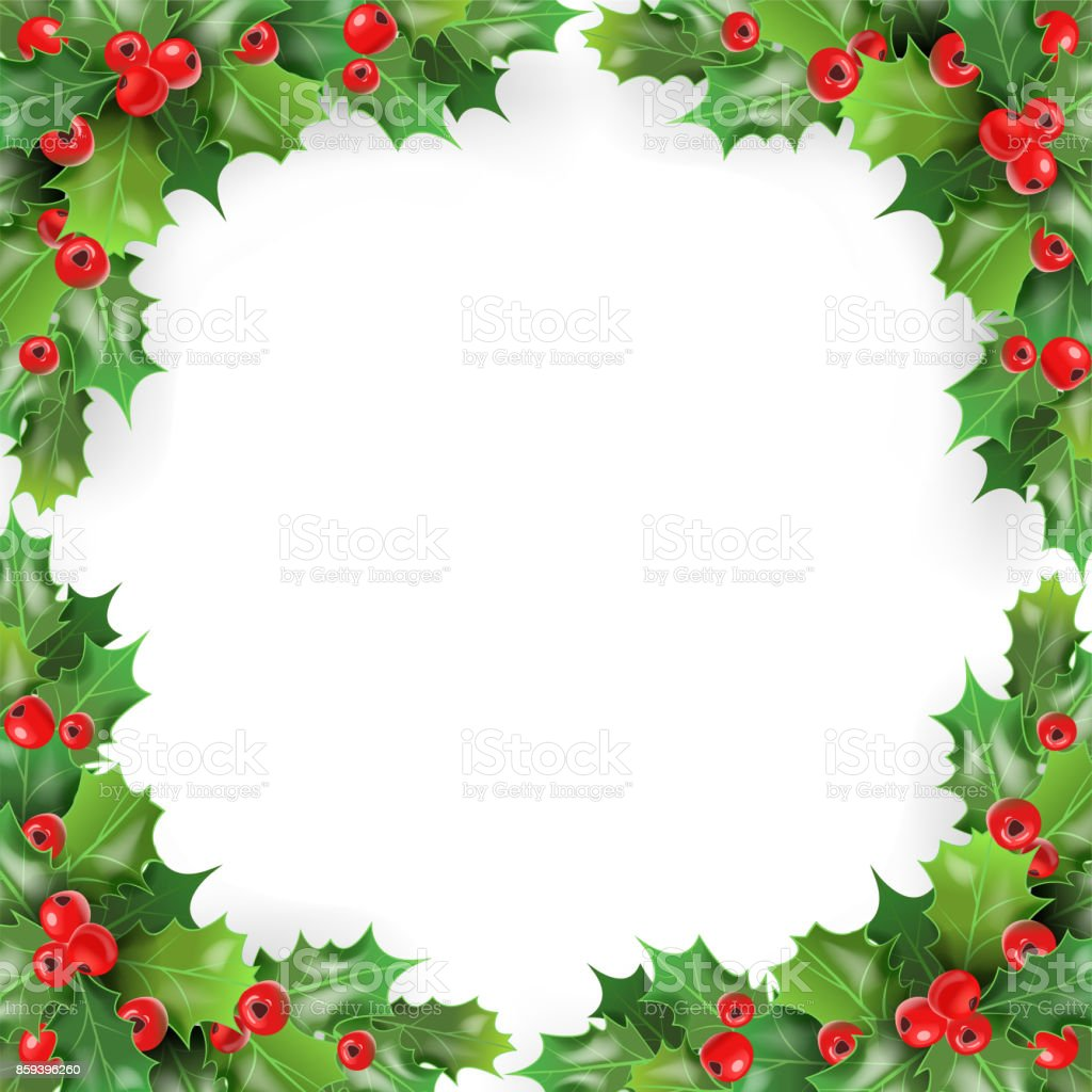 Ilustraci n de marco de navidad con mu rdago bayas de for Enmarcar fotos online
