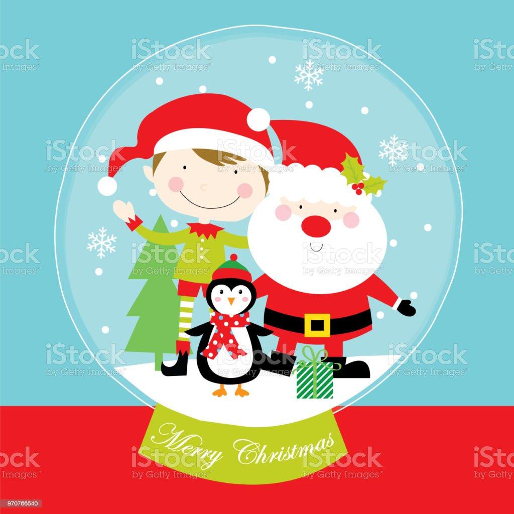 Frohe Weihnachten Vom Weihnachtsmann Und Freunde Stock Vektor Art ...