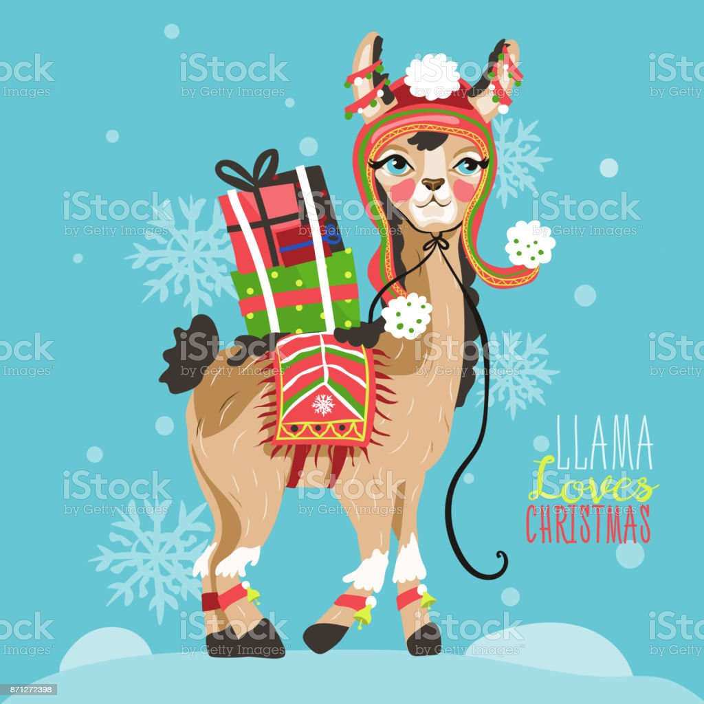 Merry Christmas Funny Card With Llama Stock Vector Art More Images