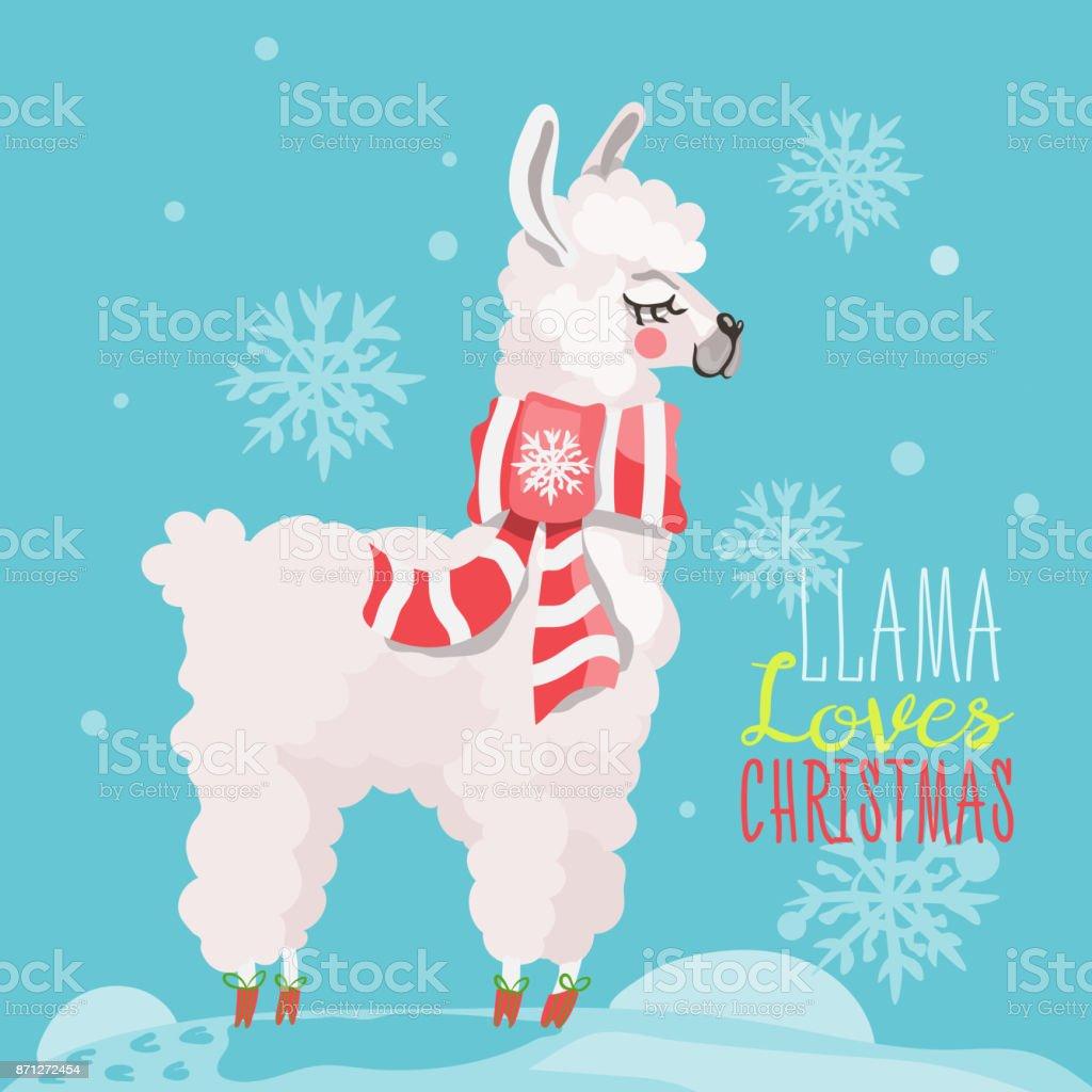 Llama Christmas.Merry Christmas Funny Card With Llama Stock Illustration