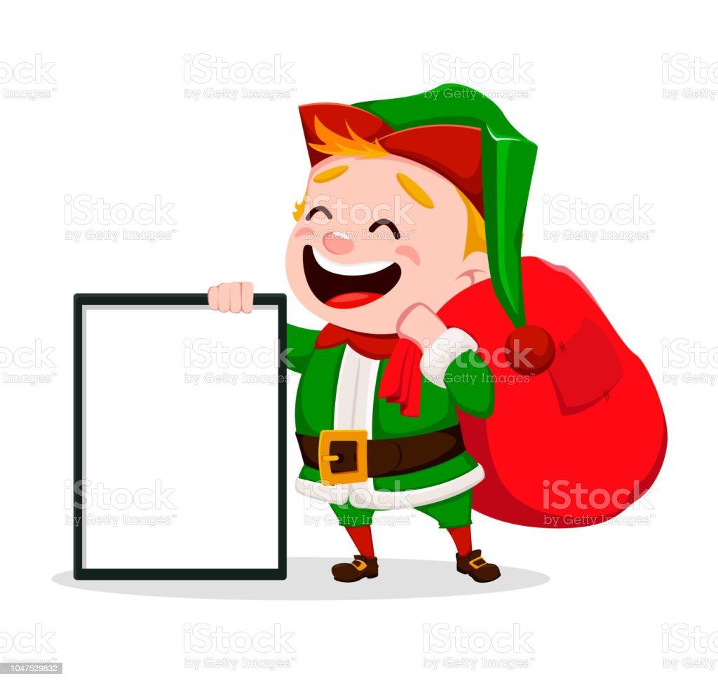 Christmas Humor Clip Art.Merry Christmas Funny Santa Claus Helper Stock Vector Art