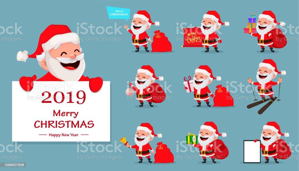 Frohe Weihnachten Lustige Bilder.Frohe Weihnachten Lustige Weihnachtsmann Set Stock Vektor