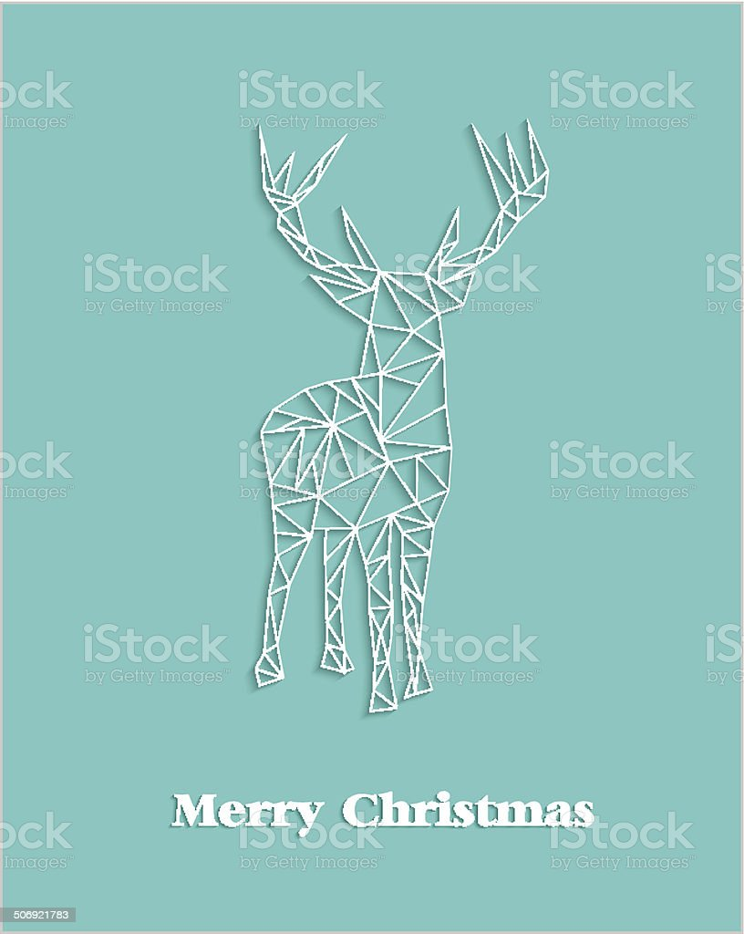 Merry Christmas geometric abstract reindeer royalty-free stock vector art