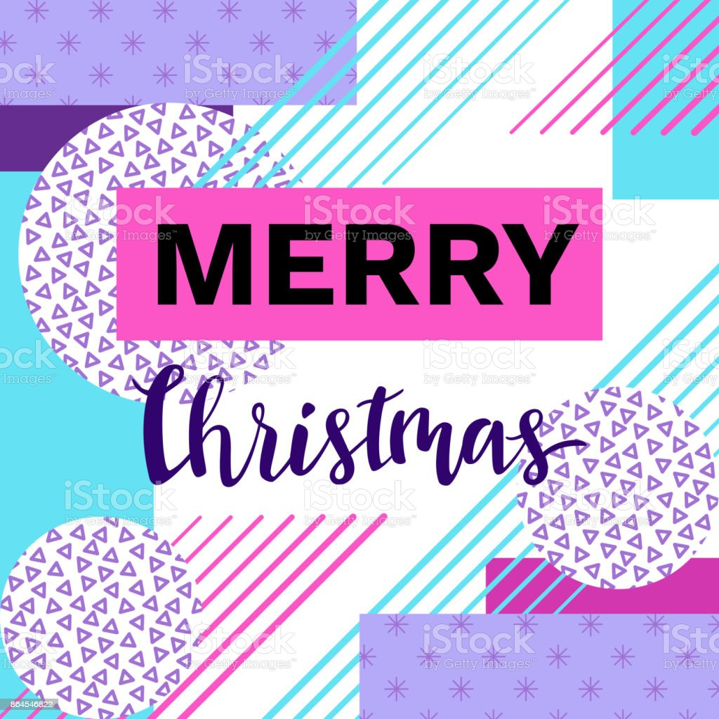 Merry christmas geometric greeting card in trendy 90s style with merry christmas geometric greeting card in trendy 90s style with triangles lines lettering m4hsunfo