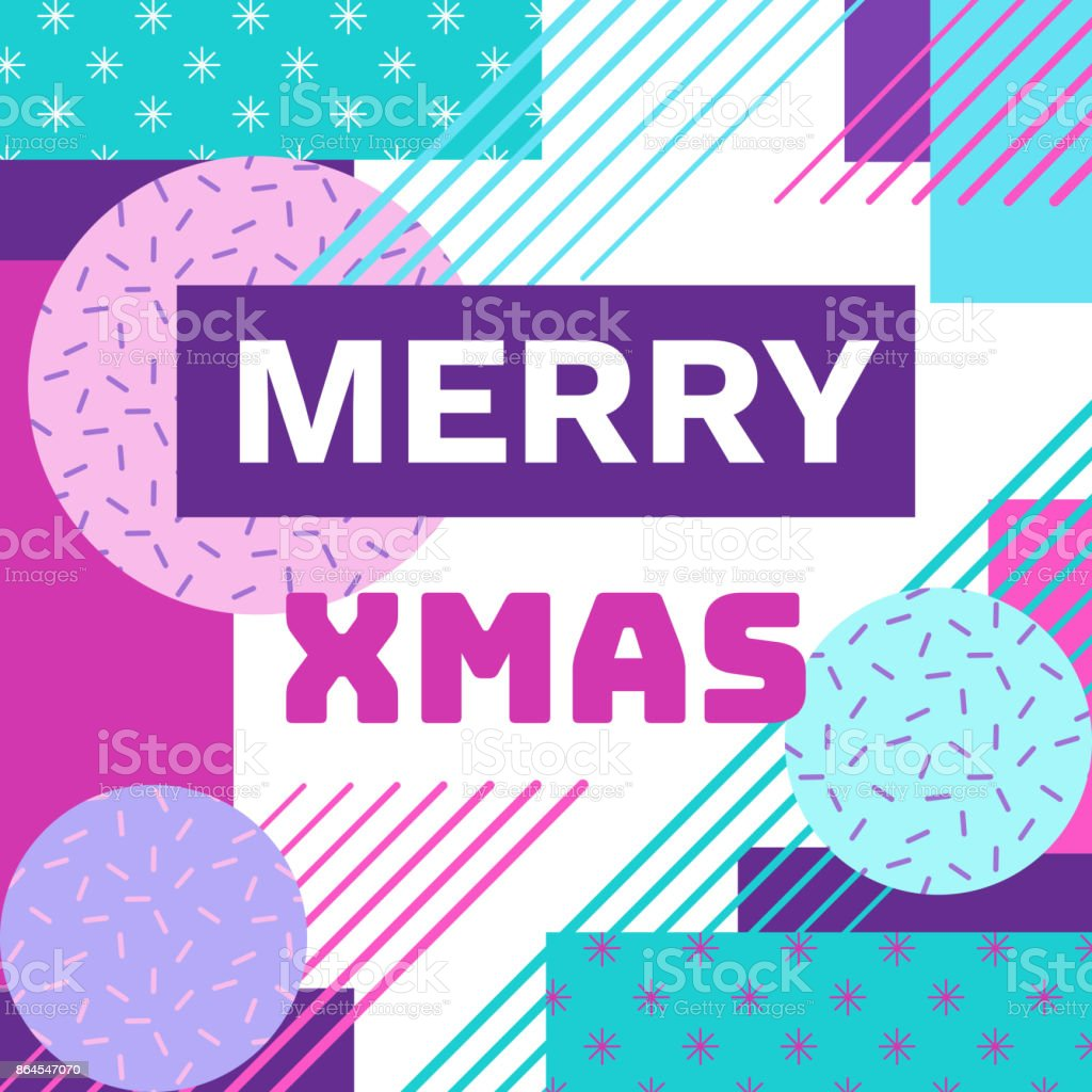 90s Christmas Background.Merry Christmas Geometric Greeting Card In Trendy 90s Style With