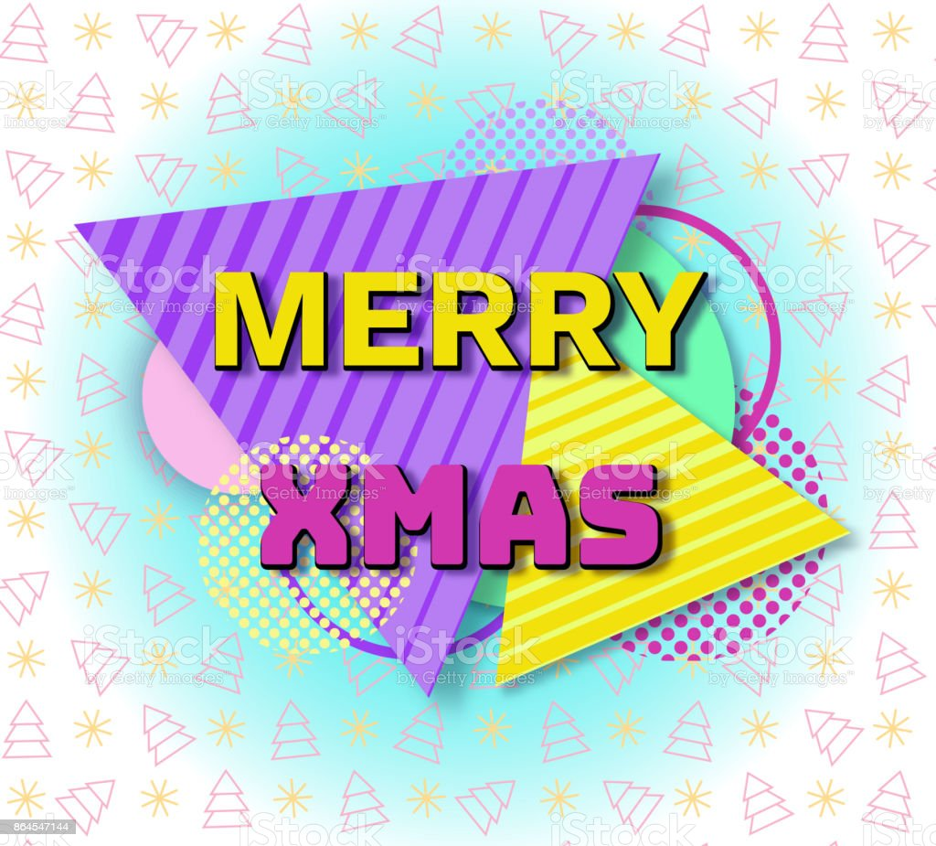 90s Christmas Background.Merry Christmas Geometric Greeting Card In Trendy 90s Style With Triangles Lines Lettering Snowflakes Party Background Or Invitation Template Banner